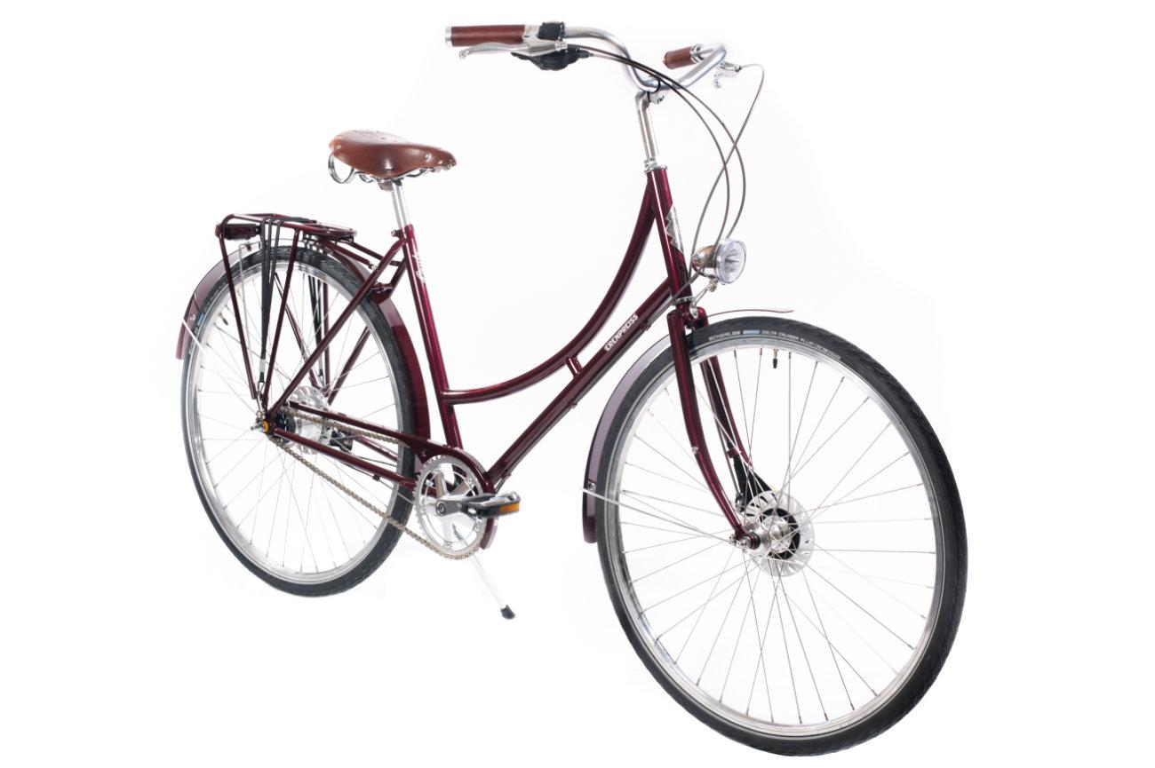 Ērenpreiss Paula Burgundy sieviešu pilsētas velosipēds - An Erenpreiss Paula Burgundy women's design bicycle for casual riding
